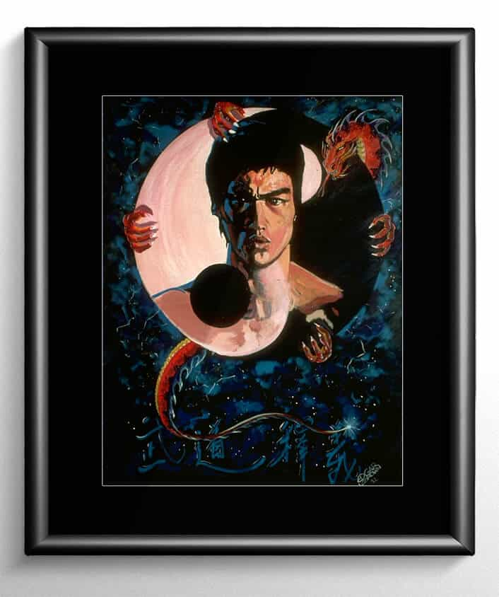 Bruce lee martial arts painting enter the dragon for Lee s painting