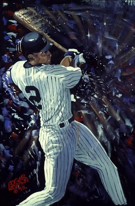 Derek Jeter Painting by Edgar J. Brown